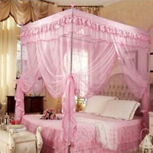 Retro Pink Fairy Princess Queen Mosquito Net 4 Poster Bed