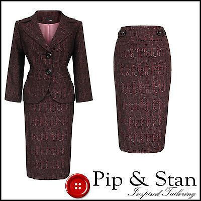 NEW NEXT UK12 US8 BLACK PINK PENCIL SKIRT SUIT 50S INSPIRED WOMEN LADIES SIZE