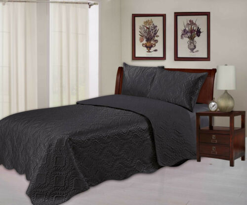 3 Sizes Quilted Embossed Satin Plush Bedspread Throw Over Comforter Bedding