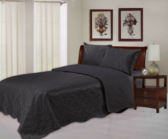 Quilted Embossed Satin Plush Bedspread / Throw Over Comforter Bedding - 3 Sizes