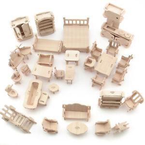 34Pcs Set Vintage Wooden Furniture Dolls House Miniature Toys Kids Gifts New