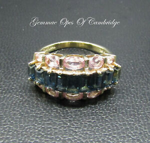 Large-9K-9ct-Gold-Sapphire-amp-Pink-Topaz-Band-Ring-Size-P-1-2-4-28g-5-3-carats