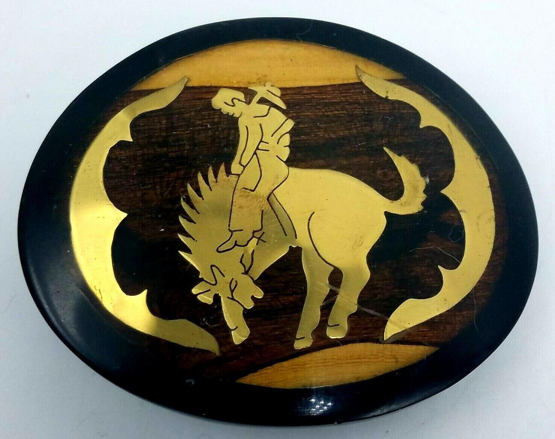 Vtg Wood Acrylic & Gold Tone Metal Belt Buckle Cowboy Rodeo Horse Western