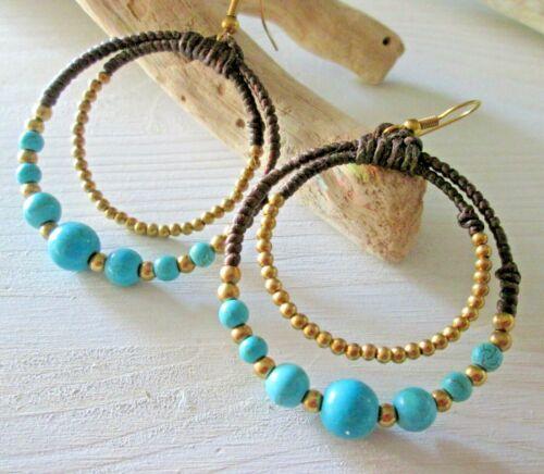 Ohrringe Ohrhänger Perlen Schmuck Hippie Boho Chandeliers*Farbe gold/_türkis*neu