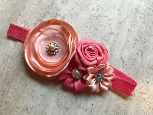 BABY TODDLER CLUSTER FLOWER HEADBAND PHOTO PROP PEACH PINK CORAL 0043 US SELLER