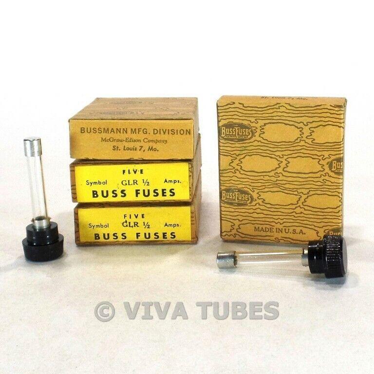 Set of 20 NOS NIB Vintage Bussman Fuses Type GLR 1 Amp 300 V Panel Mount Fuses