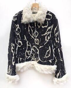 Sort Kvinders Trim Jeans Print Xl Abstrakt Creme Kocca Fur Faux Zip Corduroy Coat wSHZEqWp