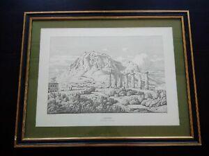 Rare gravure Théodore Aligny eau-forte Corinthe encadrée signée et datée 1846
