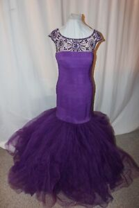NWT-Size-12-Sherri-Hill-50014-purple-mermaid-long-formal-elastic-prom-gown