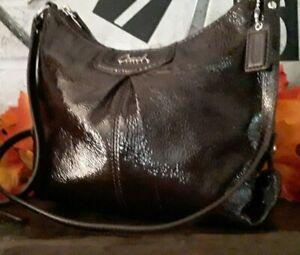 Coach-Ashley-Small-Crossbody-Handbag-Patent-Leather-Brown-Nwots