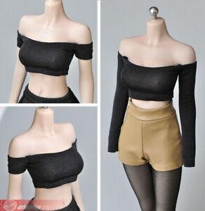 1-6-Black-Strapless-Vest-Clothes-T-shirt-Model-Fit-12-034-Female-Phicen-Figure-Body