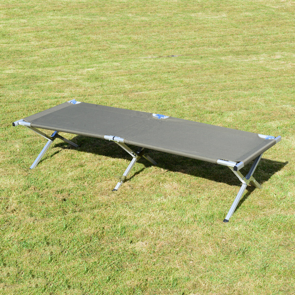 OLIVE GREEN US CAMP BED - Folding Camping Cot Aluminium Water Resistant Bag New