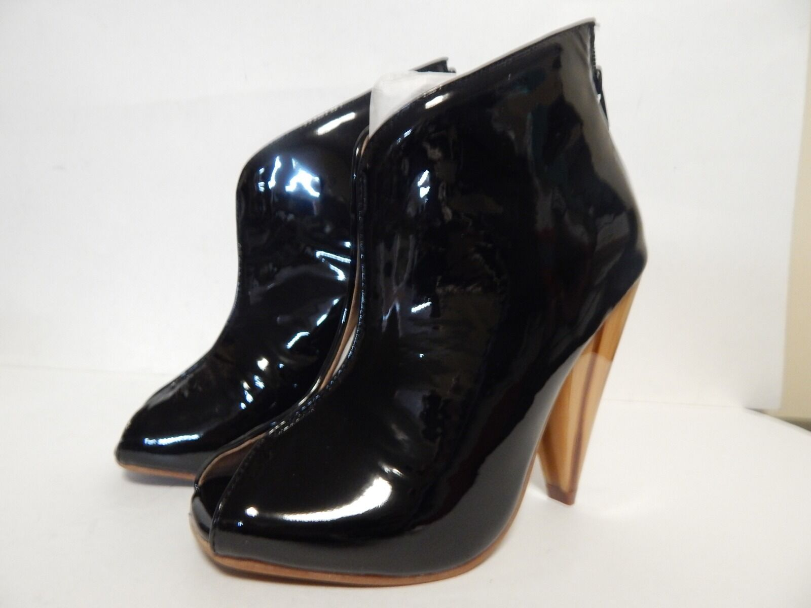 Jeffrey Campbell Easton Open Toe Bootie  Black Patent New w Box