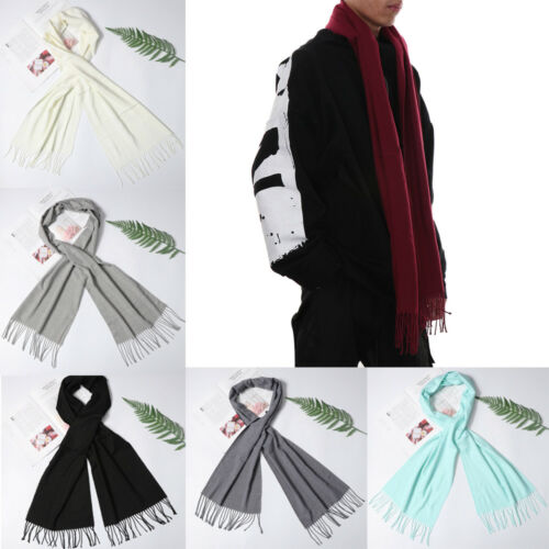 Women Girl Pure Color Winter Warm Scarf Cashmere Scarves Tassel Shawl 2019