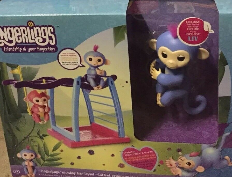 FINGERLINGS LIV MONKEY BAR PLAY SET EXCLUSIVE LIV blueE FINGERLING NEW AUTHENTIC