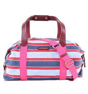 e2bf2e5e70da DOLCE   GABBANA Striped Sport Gym Boston Travel Bag Duffle Bag Pink ...