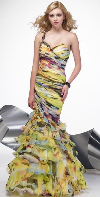 Alyce 6621 Pageant Trompete eine Schulter Rüschen Kleid Gelb 4 Neu