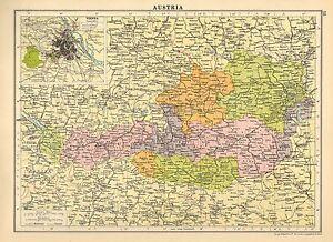 1929 MAP AUSTRIA INSET ENVIRONS VIENNA GRAZ KLAGENFURT LINZ