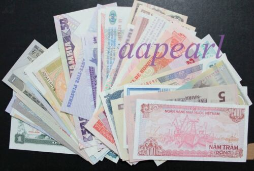 Wholesale lot 105pcs Different paper money World  Banknotes Rare Collections