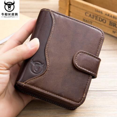 Hommes Portefeuille Véritable Cuir Rétro Carte De Crédit Support RFID Bloquant Zipper Mince