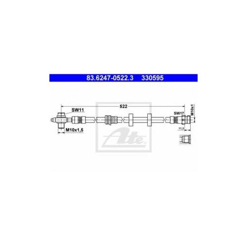 2x ATE 83.6247-0522.3 Bremsschlauch VW Polo 9N Skoda Fabia Seat Ibiza IV V Vorne
