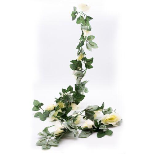 2.5m Artificial Flower Silk Rose Leaf Garland Vine Ivy Home Wedding Garden Deor