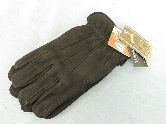 Mens Brown Italian Leather Gloves Thinsulate Insulation Size Large