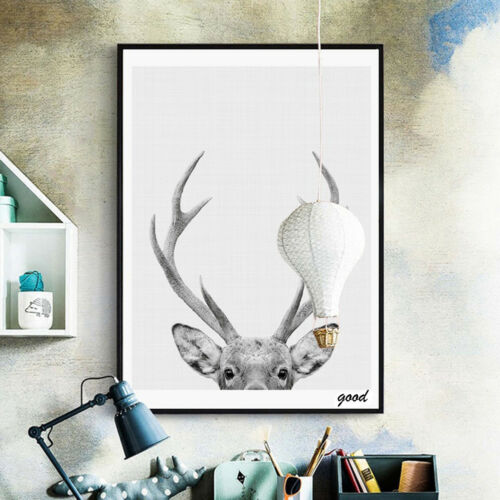 JW/_ Modern Deer Art Poster Wall Canvas Painting Picture for Room Home Decor Re
