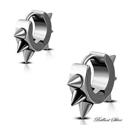 Creolen Klappcreolen Ohrstecker Ohrringe Edelstahl Silber Spikes 1 St 1 Paar