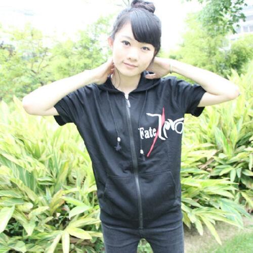 Anime Fate Stay Night Hoodies Cotton Print Short Sleeve Zipper Sweatshirt Jacket