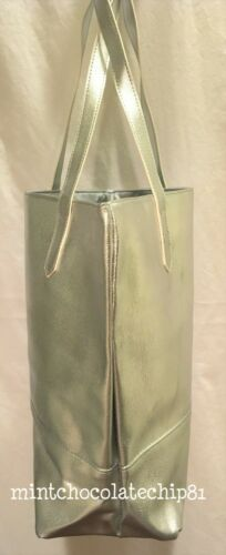 BLOOMINGDALE/'S METALLIC SILVER Faux Leather Shopping Shopper Shoulder Tote NWT
