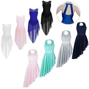 Girls-Lyrical-Ballet-Dance-Dress-Kids-Leotard-Uneven-Hem-Skirt-Dancewear-Costume