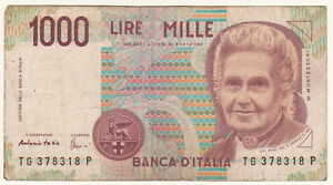 Italy 1000 Lire Mille 1990 Banknote Banknote Circulated - EU, Ireland - Italy 1000 Lire Mille 1990 Banknote Banknote Circulated - EU, Ireland