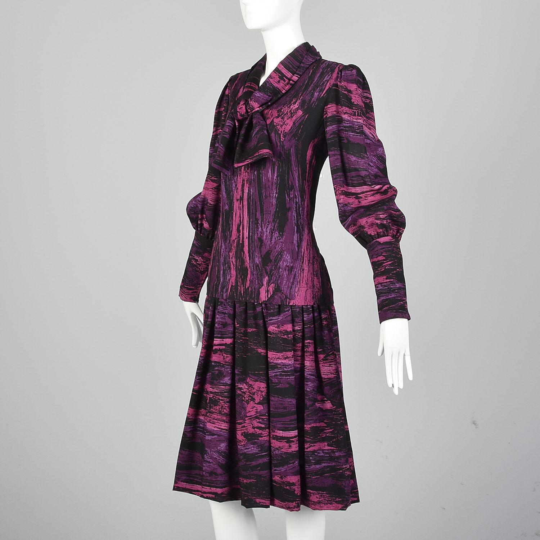 Medium Pauline Trigere 1980s Drop Waist Dress Vin… - image 4