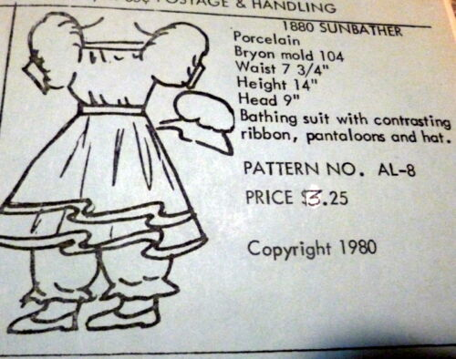 "GREAT VTG 14/"" /""1880 SUNBATHER/""  DOLL CLOTHING SEWING PATTERN Anna Lou/'s"
