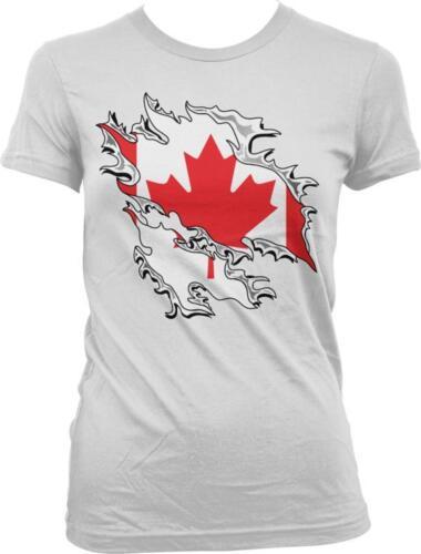 Canada Shred Flag Maple Leaf Canadian Pride Fierté Canadienne Juniors T-shirt