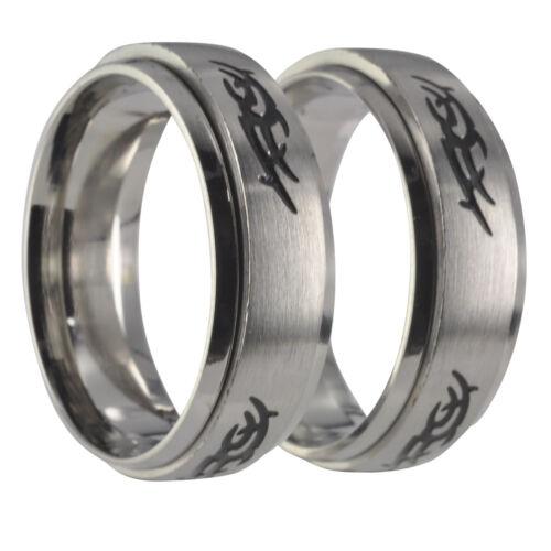 2 anillos pareja alianzas giratoria anillos juego anillos tribal tatuaje grabado interior 20p035