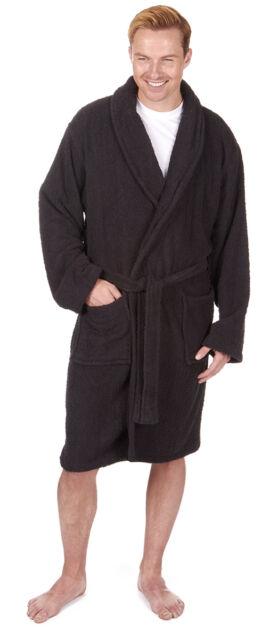 Pierre Roche Mens Towelling Dressing Gown Bathrobe Black Medium | eBay