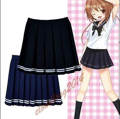 Japanese High School Girls JK Anime Cosplay Uniform Sailor Pleated Mini Skirt