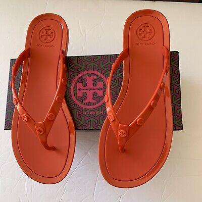 Tory Burch Logo Studded Jelly Thong Flip Flops Sandals Poppy Coral Sz 8 New Box 192485184969 Ebay