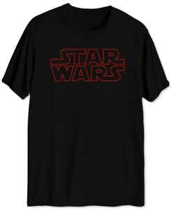 STAR-WARS-Mens-T-Shirt-Black-Red-Size-2XL-Outline-Logo-Graphic-Tee-Crewneck-106