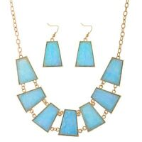 16 Pale Blue Pink Foil Cabochon Gold Necklace & 2 Dangle Earrings Jewelry Set
