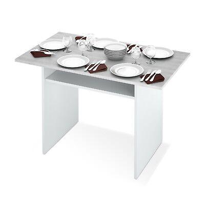 Tavolo Consolle pieghevole , apertura a libro, bianco e grigio cemento