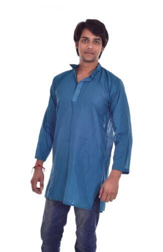 Men's 100/%  Cotton Tunic Kurta Shirt Solid teal Color Plus Size 4xl 5xl 6xl 7xl