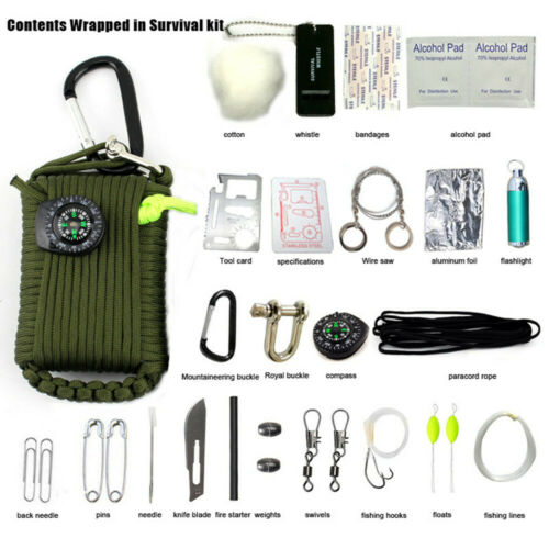 29 Tool Survival kit 550 Paracord Grenade EDC Outdoor Fishing Camping Olive Drab