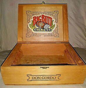 CIGAR-BOX-WOODEN-BIG-BUTT-CIGAR-DON-GORDO-Hand-Made-in-Nicaragua-Rare-Vintage