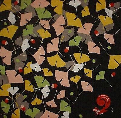Furoshiki Wrap Cloth Japanese Fabric 'Squirrel & Acorns' Asian Tapestry 50cm