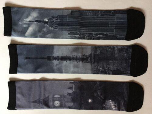 numero di scarpe 6-11 Da Uomo 3 Pack Calzini Multi Grigio con Landmark Tower PICTURES