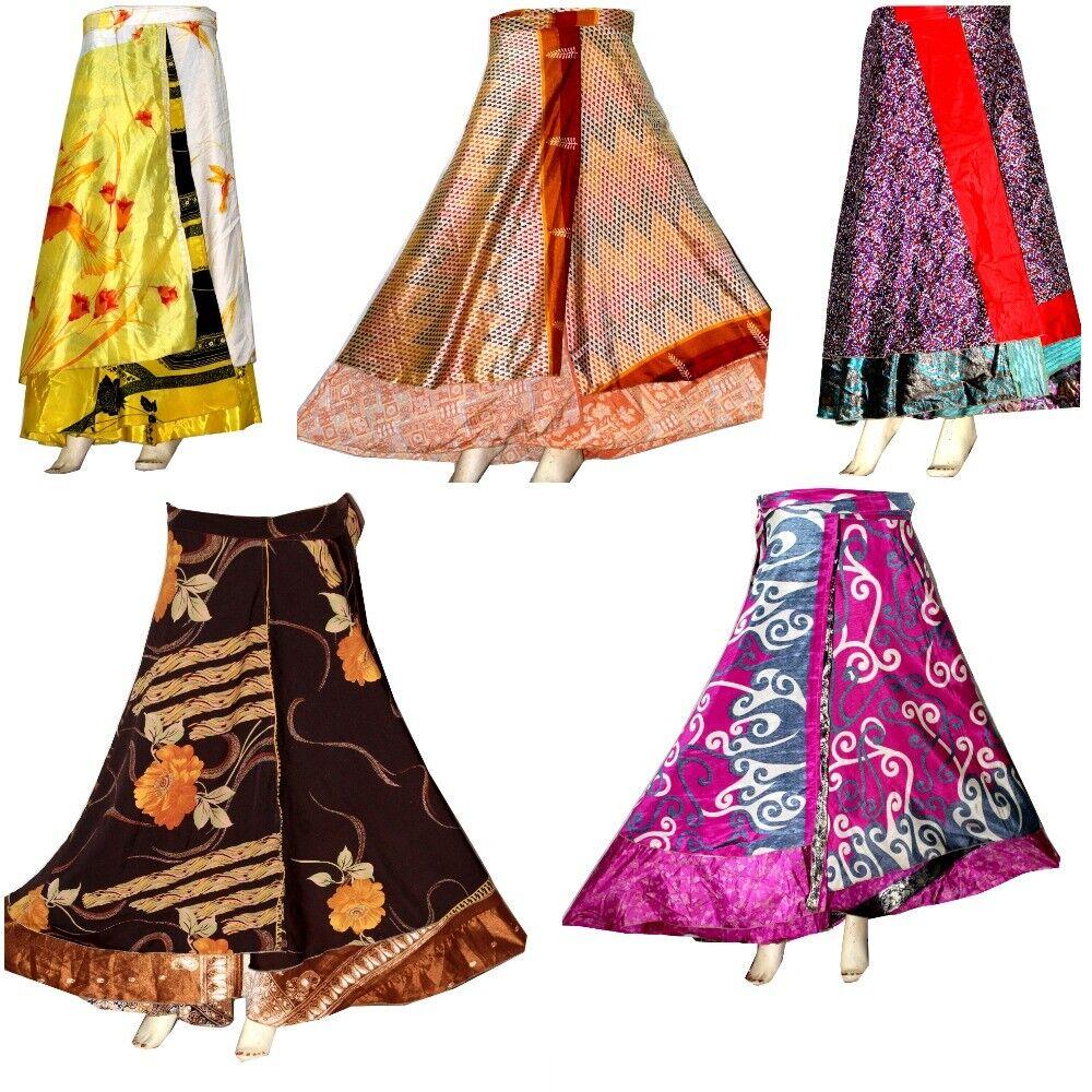 5 PC Wholesale Lot Skirt Women Wrap Around Rapron Silk Skirt Long Skirt Indian