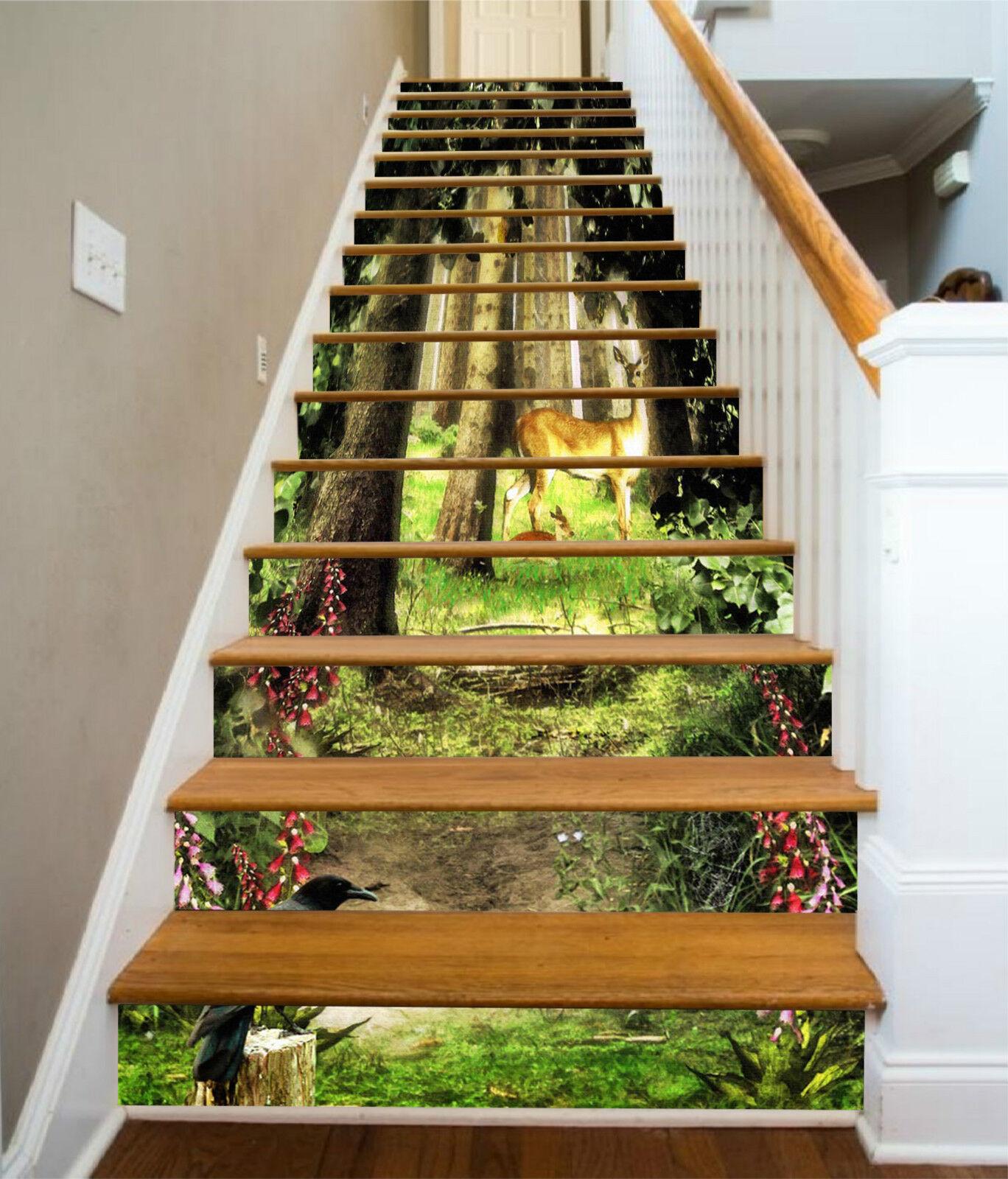 3D Tiere Im Wald 31 Stair Risers Dekoration Fototapete Vinyl Aufkleber Tapete DE